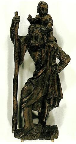 Bäuerlicher Christophorus, angeblich aus dem 18. Jahrhundert, bayerischer Provenienz.