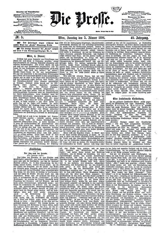 Zeitungsartikel über Entdeckung der X-Strahlen.