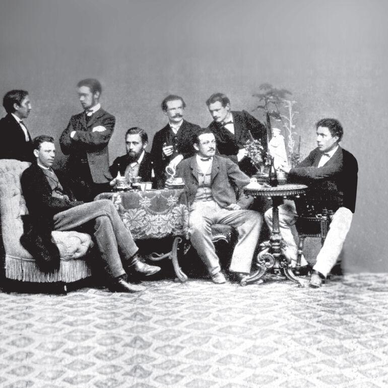Röntgen (rechts im Bild) mit Züricher Kommilitonen.