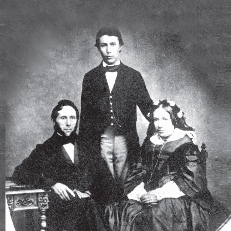 Wilhelm Conrad Röntgen mit seinen Eltern, ca.-1860.
